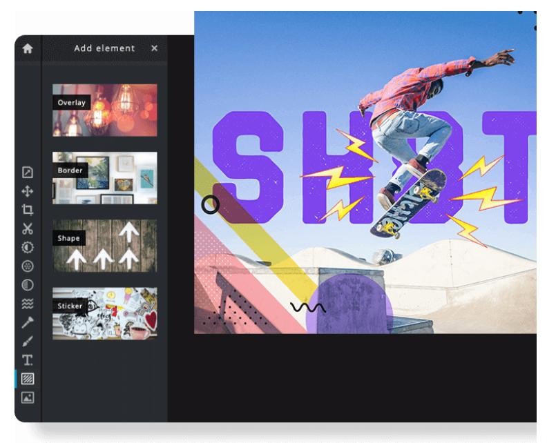 app para criar imagens para Instagram: Print da tela de apresentação da Pixlr, que mostra um pouco da plataforma com a escolha de imagens.