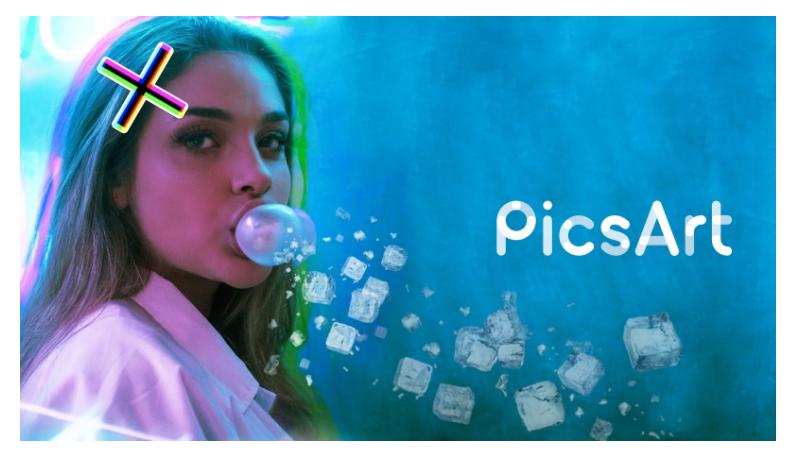 app para criar imagens para instagram: uma mulher branca está fazendo uma bola com o chiclete e ao lado aparece o nome PicsArt.