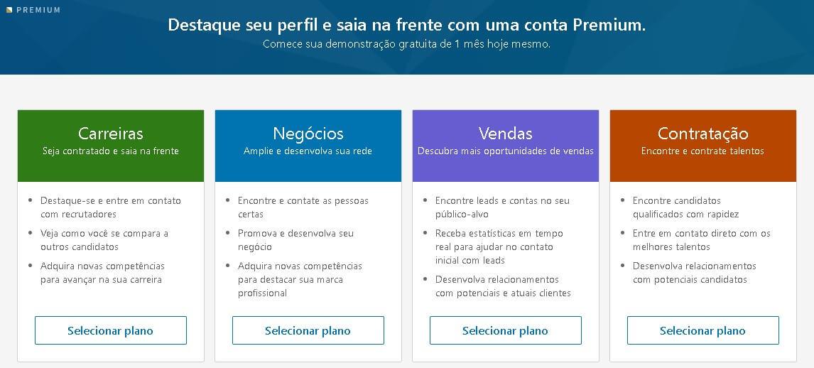 Linkedin Premium: imagem dos tipos de planos descritos na plataforma.