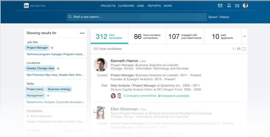 Linkedin Premium: imagem do linkedin com a tela de busca avançada em aberto