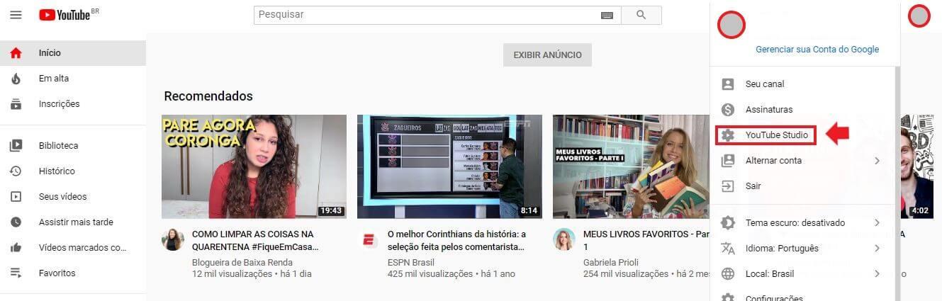YouTube Ads: imagem da tela inicial do youtube com uma seta indicando onde se localiza o youtube studio