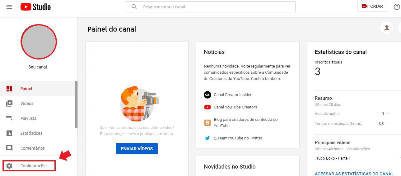 YouTube Ads: imagem da tela inicial do youtube studio com uma seta indicando onde se localizam as configurações