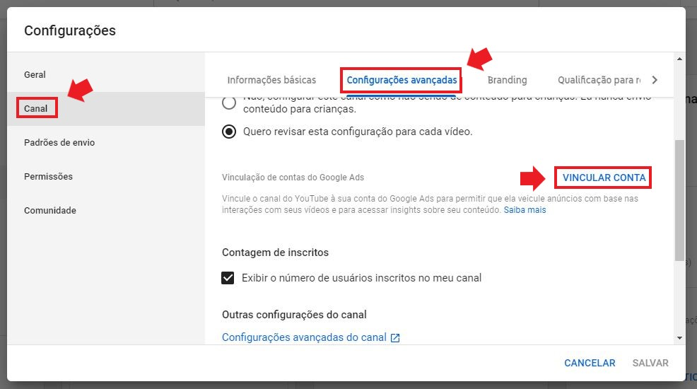 YouTube Ads: imagem da tela de configurações do youtube studio, indicando onde vincular a conta