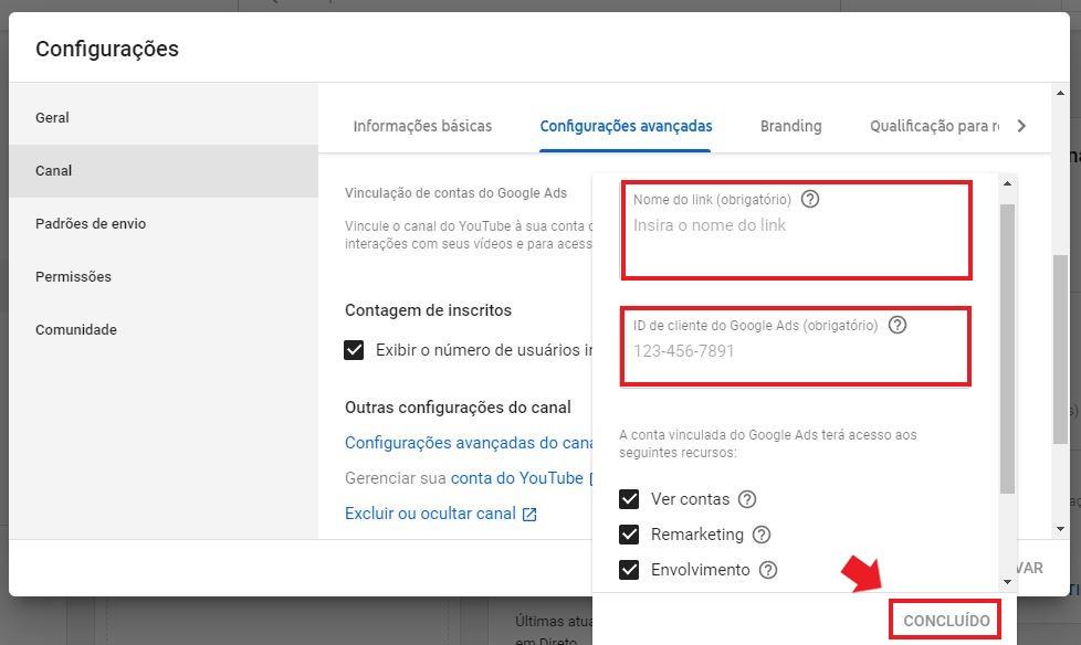 YouTube Ads: imagem da tela de configurações do youtube studio, indicando onde colocar o nome do link e o código do cliente