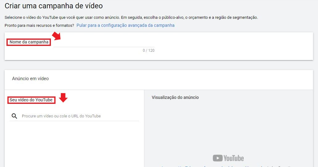 YouTube Ads: imagem da tela inicial do Google Ads para Vídeo