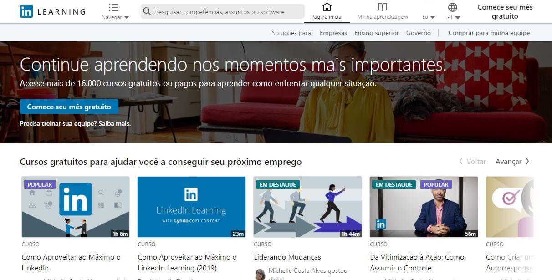 Linkedin Learning: Imagem de tela inicial da plataforma de cursos do LinkedIn