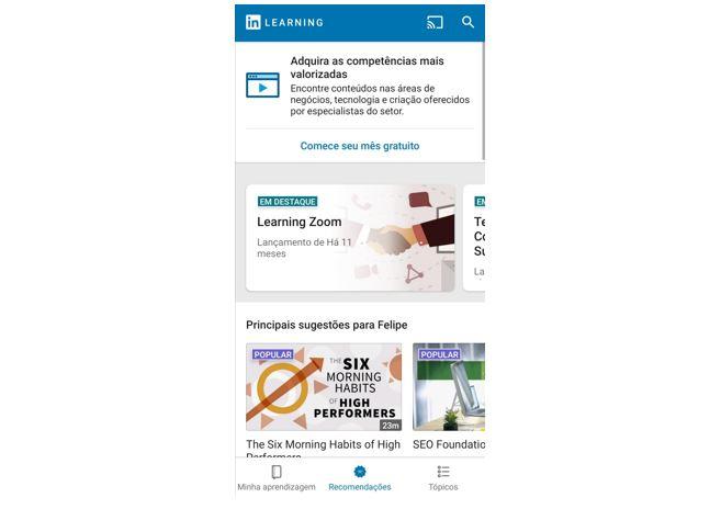 Linkedin Learning:imagem da tela de entrada no aplicativo