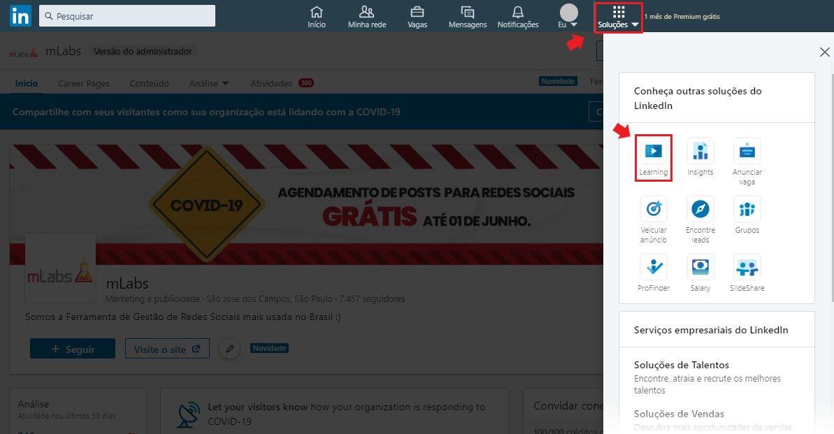 Linkedin Learning: imagem da tela do LinkedIn indicando onde se localiza o botão Soluções e a plataforma Learning