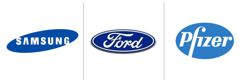 Cores no marketing: imagem de três logos das empresas Samsumg, Pfizer e Ford