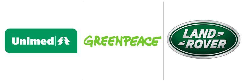 Cores no marketing: imagem de três logos das empresas Unimed, Greenpeace e Land Rover