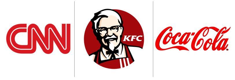Cores no marketing: imagem de três logos das empresas CNN, KFC e Coca-cola