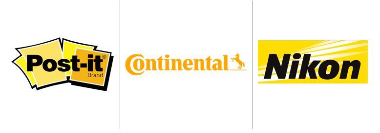 Cores no marketing: imagem de três logos das empresas Post It, Continental, Nikon