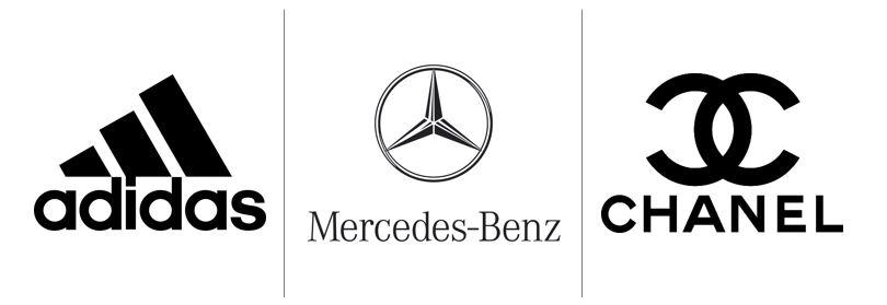 Cores no marketing: imagem de três logos das empresas Adidas, Mercedes Benz, Channel
