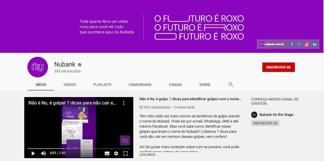 Tamanho da capa do YouTube: imagem do canal da Nubank