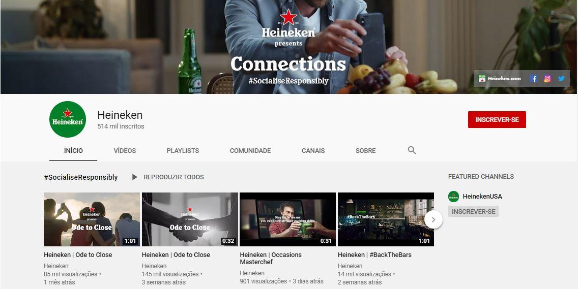 Tamanho da capa do YouTube: imagem do canal da Heineken