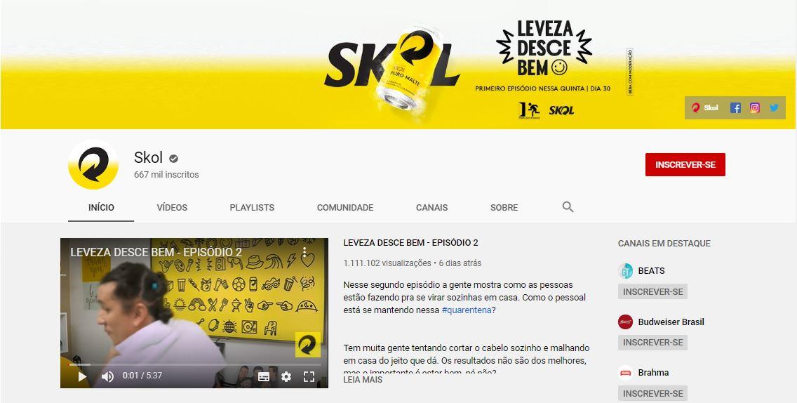 Tamanho da capa do YouTube: imagem do canal da Skol