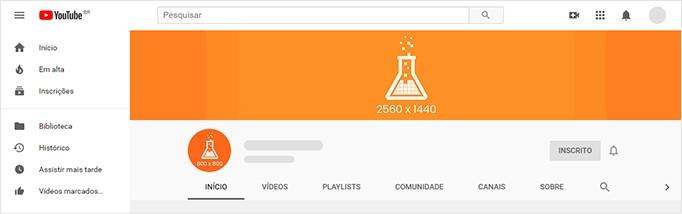 Tamanho da capa do YouTube: imagem especificando o tamanho ideal para criar a imagem de capa