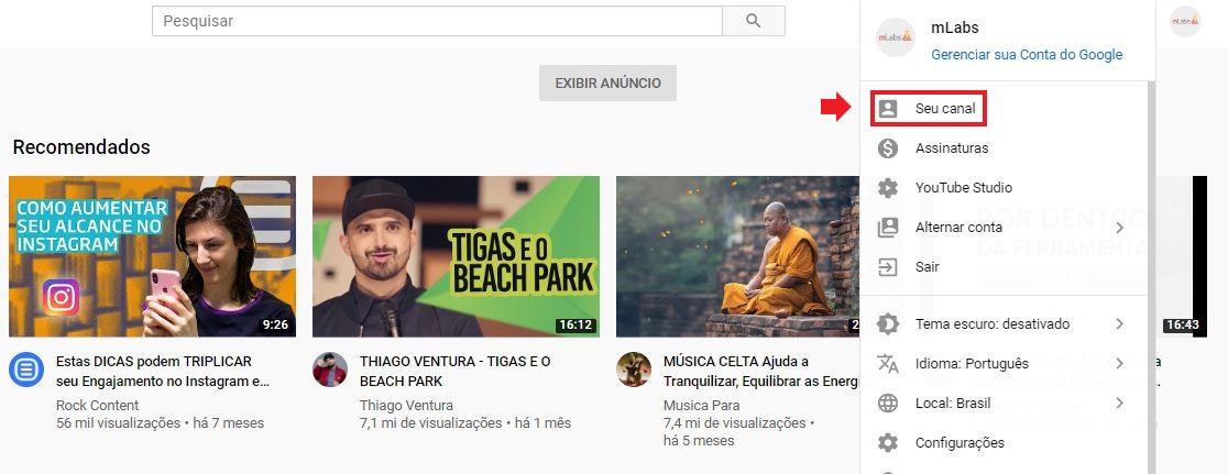 """Tamanho da capa do YouTube: imagem da página inicial do YouTube indicando onde se localiza a opção """"Seu Canal"""""""