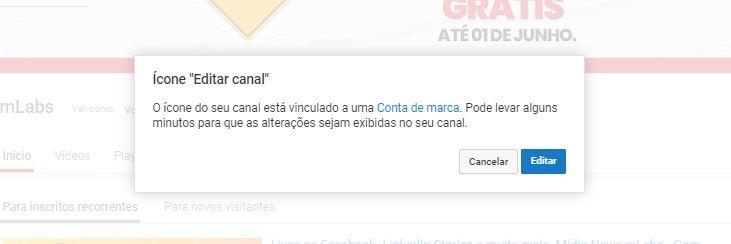 """Tamanho da capa do YouTube: imagem da página inicial do YouTube indicando onde se localiza a opção """"Editar Canal"""""""