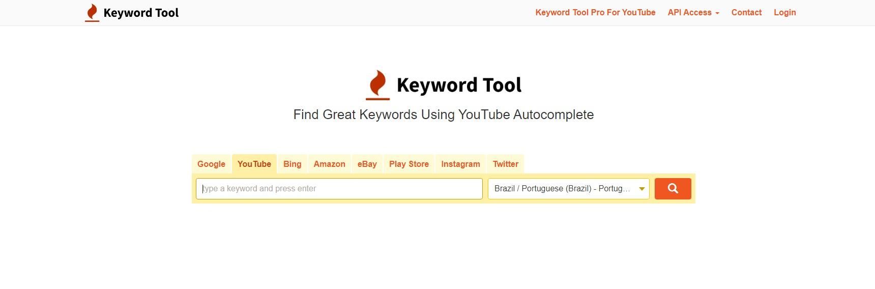 Tags para YouTube: imagem da página de entrada da ferramenta Keyword Tool