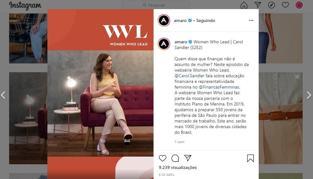 E-mail marketing e redes sociais: imagem de um post no Instagram da loja Amaro