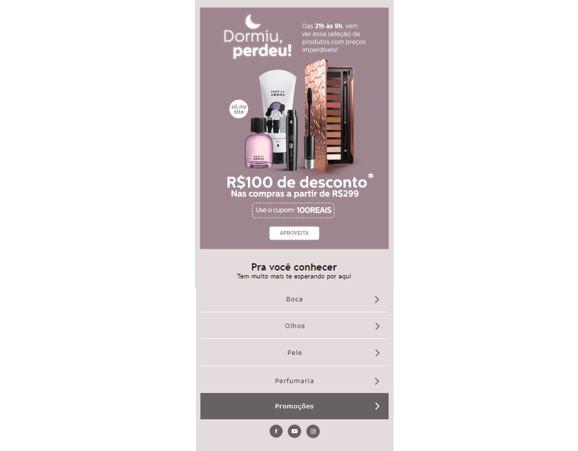 E-mail marketing e redes sociais: imagem de uma newsletter sobre cosméticos