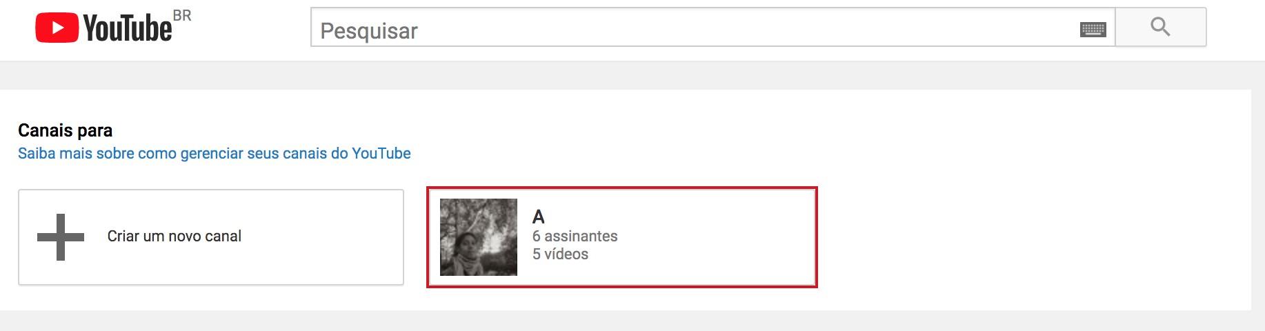 Canal no youtube: imagem da tela inicial para criar uma conta no Google