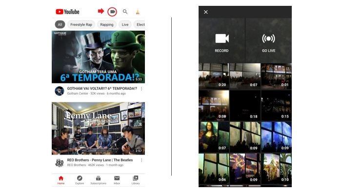 Canal no youtube: imagem de duas telas de celulares com o youtube aberto