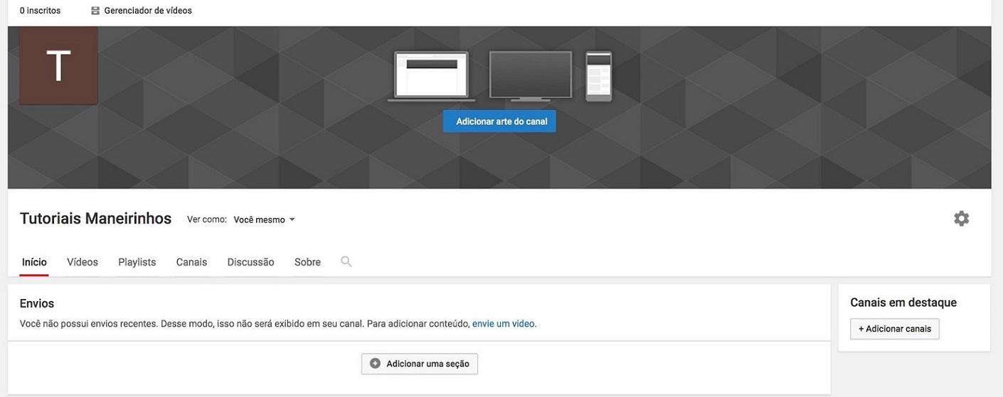 Canal no youtube: imagem da tela inicial do canal do youtube