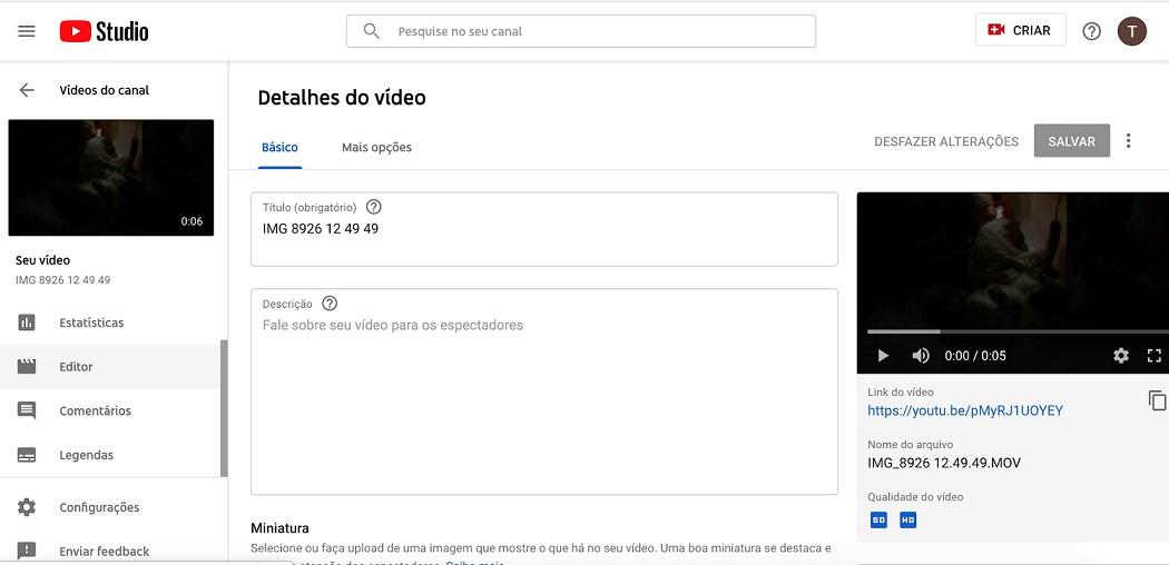 Canal no youtube: imagem da tela inicial do YouTube Creator