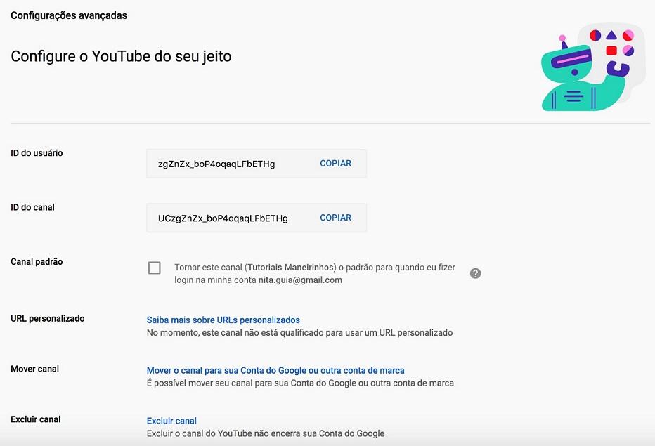 Canal no youtube: imagem da tela de exclusão do vídeo ou canal