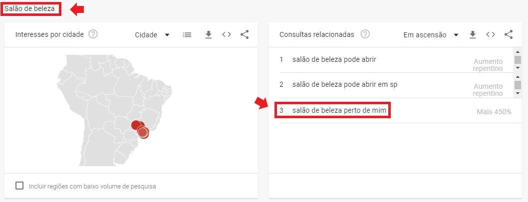 """Marketing digital para salão de beleza: do lado direito da imagem tem um mapa do Brasil indicando o estado de São Paulo, do lado esquerdo da imagem tem a lista de consultas relacionadas para o termo """"Salão de Beleza"""""""