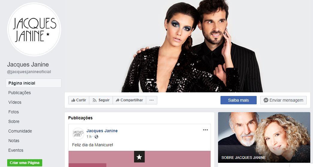 Marketing digital para salão de beleza: Imagem da FanPage do cabeleireiro Jacques Janine no Facebook.