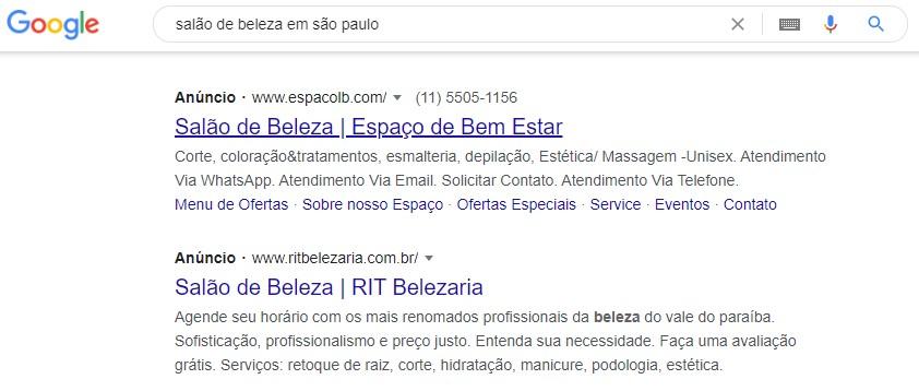 Marketing digital para salão de beleza: imagem da página inicial do Google indicando os primeiros anúncios na pesquisa por Salão de Beleza em São Paulo