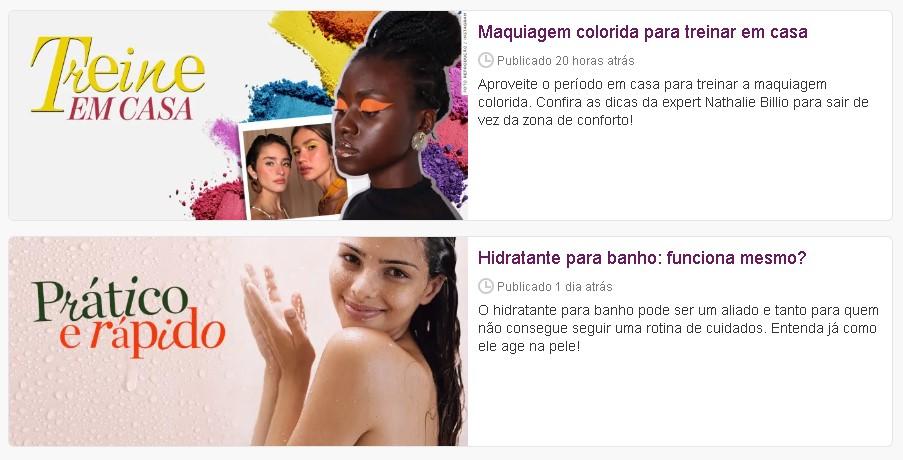 Marketing digital para salão de beleza: imagem do blog loucas por beleza, do lado direito possui imagens de mulheres maquiadas e se arrumando, do lado esquerdo possui texto com dicas de salão de beleza