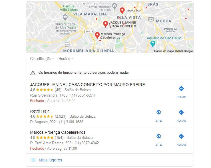 Marketing digital para salão de beleza: Imagem da página inicial do Google indicando os primeiros anúncios na pesquisa por Salão de Beleza