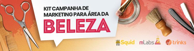 Imagem de um banner publicitário com a frase: kit campanha de redes sociais para área da beleza