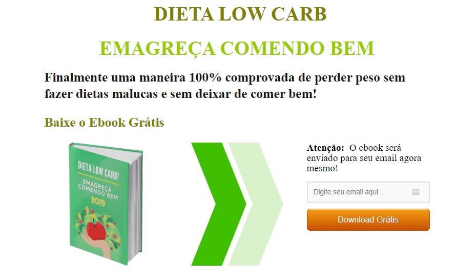 marketing para nutricionista: imagem do blog minhavida com uma landing page para download de um e-book sobre dieta low carb