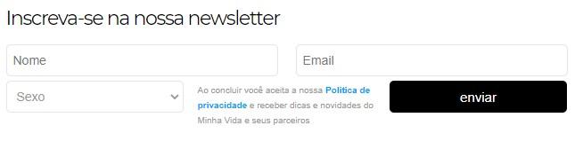 marketing para nutricionista: imagem da página de inscrição de uma newsletter