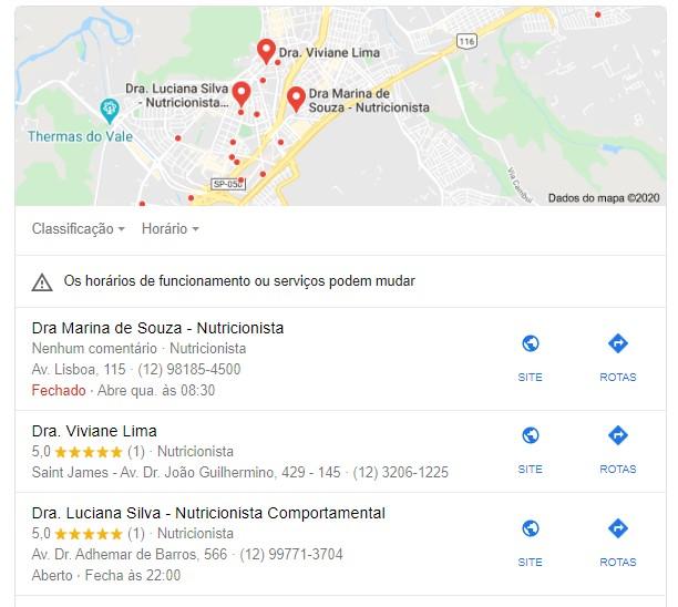 marketing para nutricionista: imagem da página do Google mostrando os resultados que aparecem para a busca da palavra nutricionista