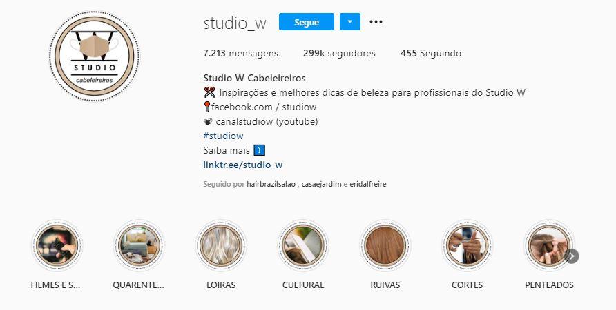 redes sociais para salão de beleza: imagem de uma biografia preenchida no Instagram