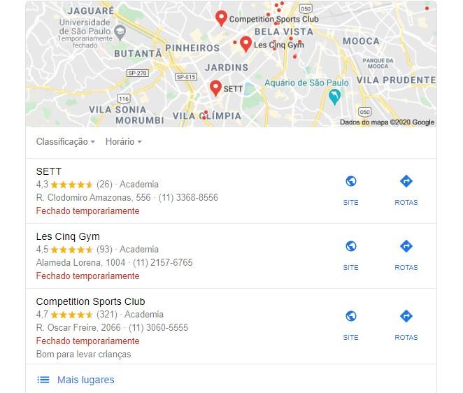 marketing para academia: imagem da busca pela palavra academia no google meu negócio, na parte superior da imagem tem um mapa e na parte inferior tem uma lista de academias cadastradas