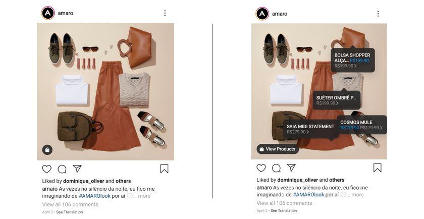 Como vender roupas pelo Instagram: imagem do perfil da marca Amaro no Instagram mostrando peças de roupas dispostas: camisa, saia, bolsa, sapato e cinto, montando um look com preços sob as peças
