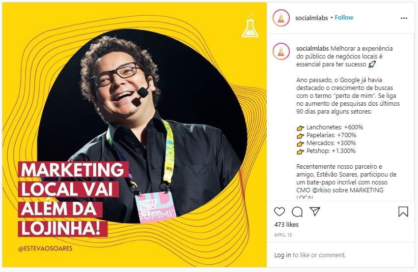 Como fazer live no Instagram: imagem de um post da mLabs com a foto do especialista em marketing Estêvão Soares e informações sobre a live que ele participou em parceria com a mLabs