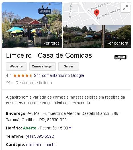 Redes sociais para restaurantes: imagem do restaurante Limoeiro no Google