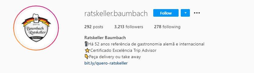 Redes sociais para restaurantes: imagem da biografia da marca Ratiskeller Baumbach no Instagram