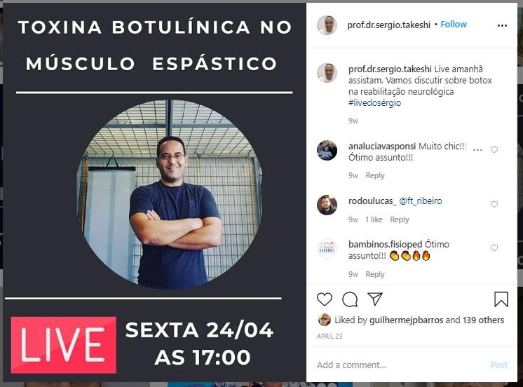 marketing para médicos: imagem de um post no Instagram divulgando uma live sobre toxina botulínica no músculo epástico