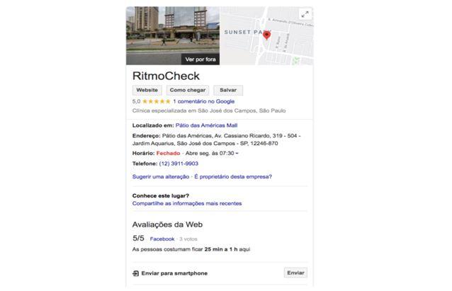 marketing para médicos: imagem de uma ficha cadastrada no Google Meu Negócio com foto da fachada do consultório, imagem do Google Maps mostrando o trajeto para chegar no consultório e informações adicionais