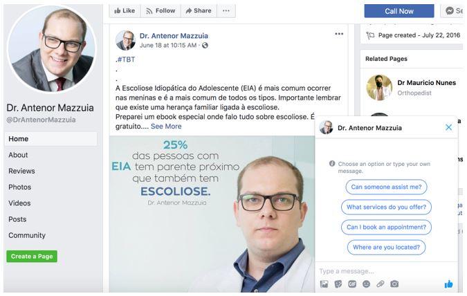 marketing para médicos: imagem da FanPage do médico Dr. Antenor Mazzuia