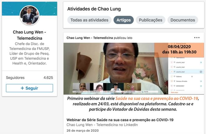 Marketing digital para médicos: imagem do perfil do LinkedIn do médico Chao Lung Wen divulgando um Webinar sobre prevenção ao Covid-19